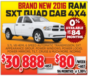 New 2016 Ram SXT Quad Cab in Toronto