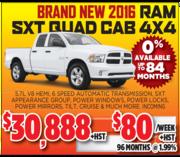 New 2016 Ram SXT Quad Cab in Toronto