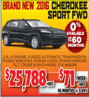 2016 Cherokee Sport FWD for Sale Toronto